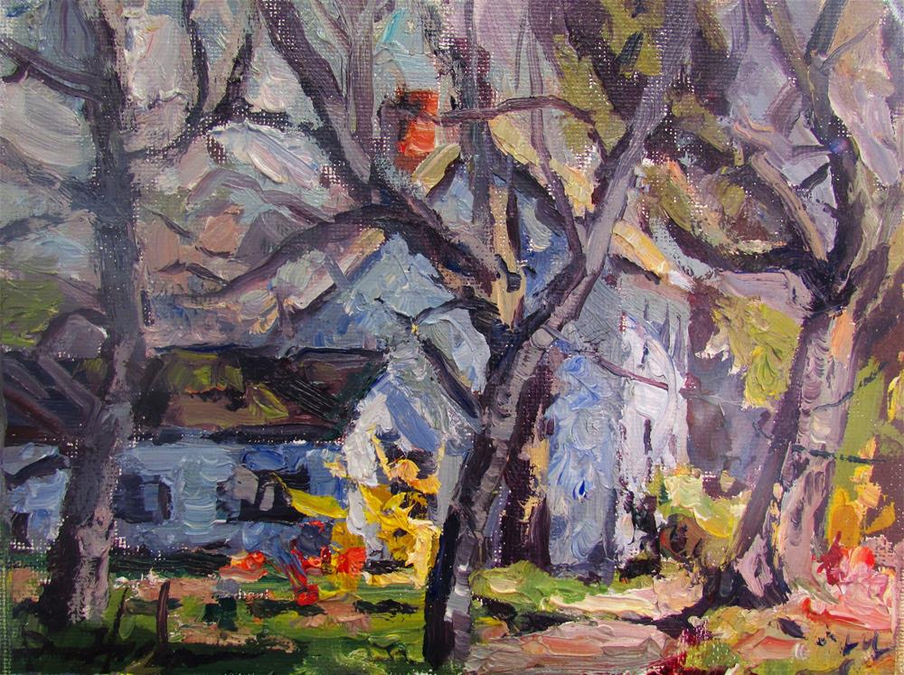 """Blue House in Spring New Harmony IN"" original fine art by randall scott harden"