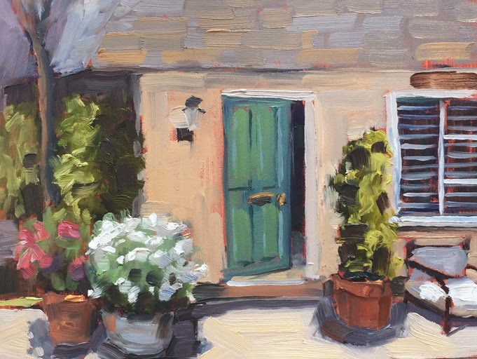 """Green Door Cottage"" original fine art by Deborah Newman"