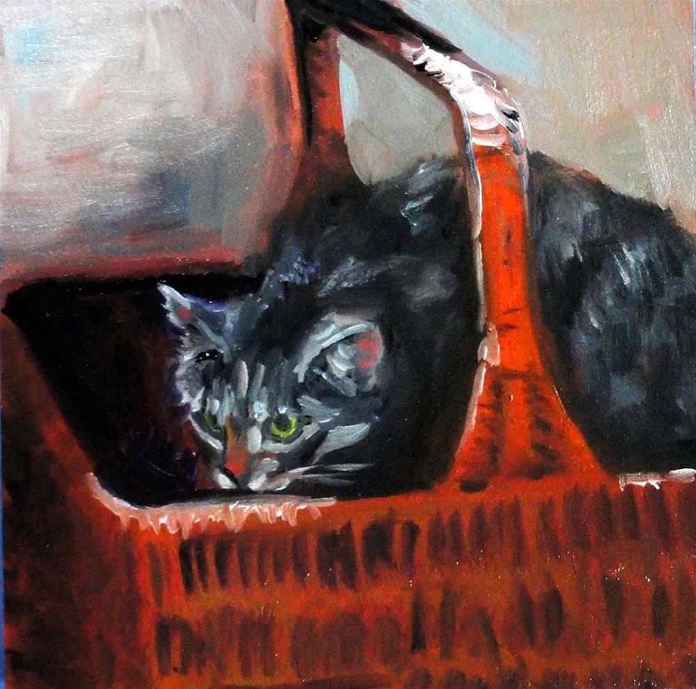 """Bas-Kitty"" original fine art by Cietha Wilson"