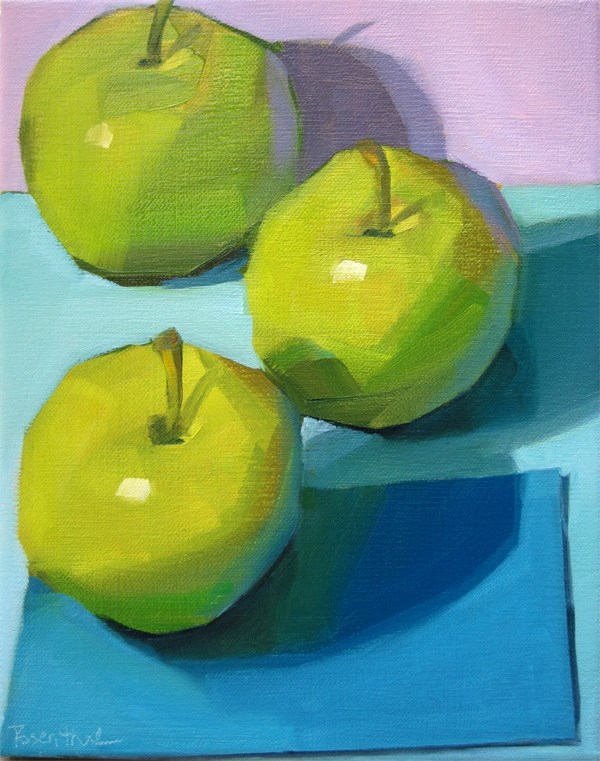 """Three Green Apples"" original fine art by Robin Rosenthal"