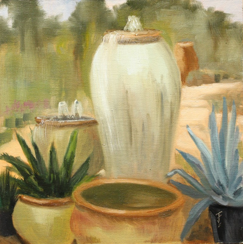 """Potted Fountains"" original fine art by Jane Frederick"