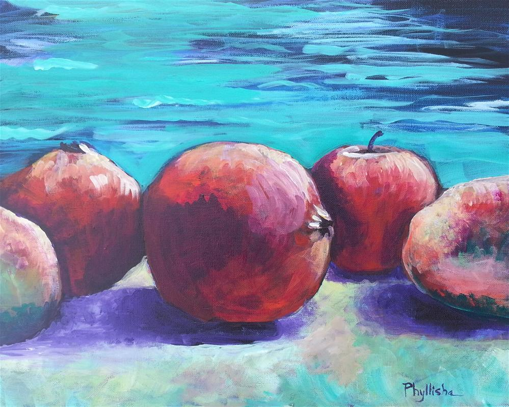 """Pomegranates, Mangos and an Apple at the Beach"" original fine art by Phyllisha Hamrick"