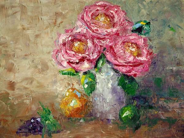 """Roses in Silver Vase"" original fine art by Sunny Williams"