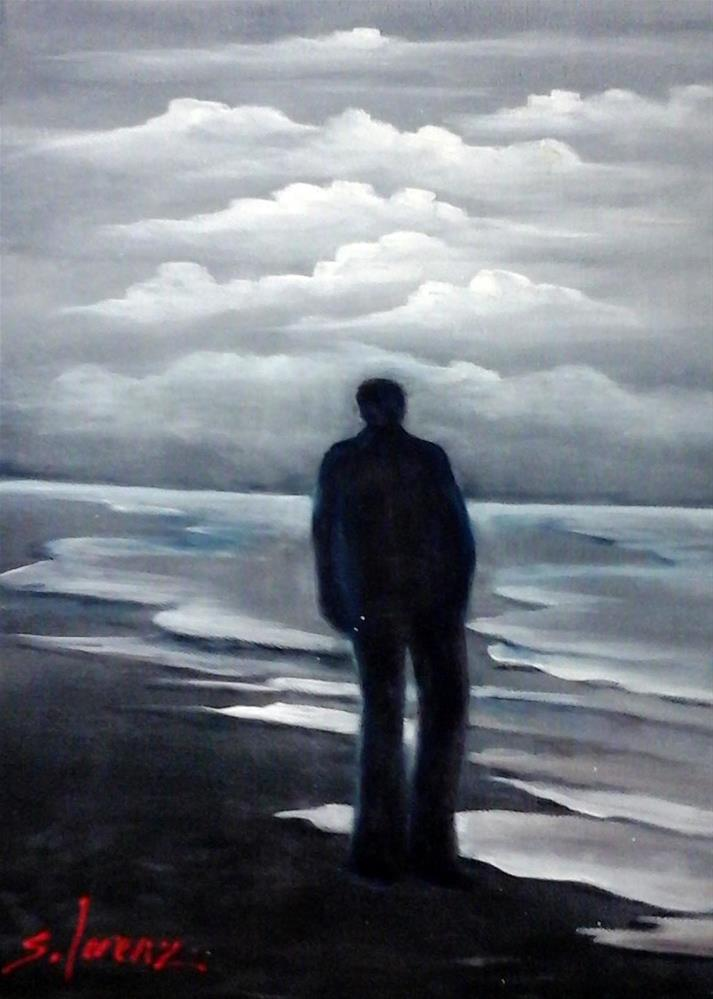 """Alone on the Beach"" original fine art by Sue Lorenz"