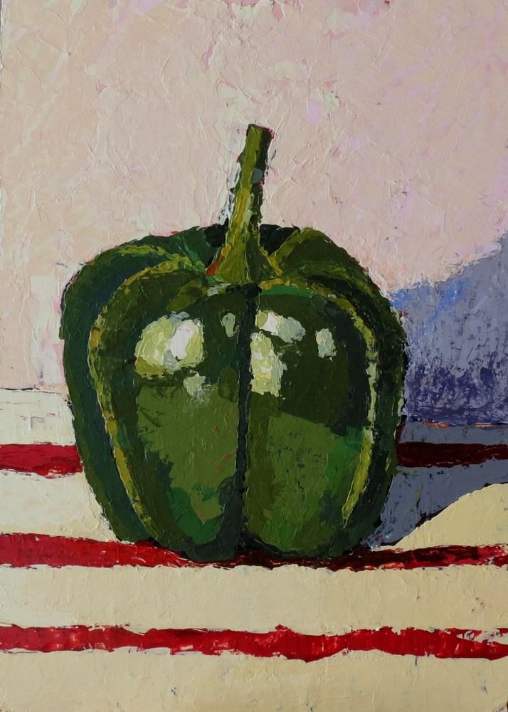 """Perfect Green Pepper"" original fine art by Joan Wiberg"