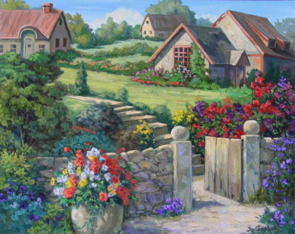 """Hillside Garden"" original fine art by Joy Campbell"