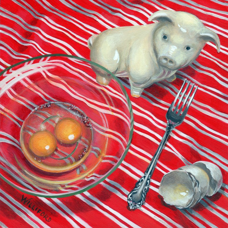 """Ham and Eggs"" original fine art by Kathleen Williford"