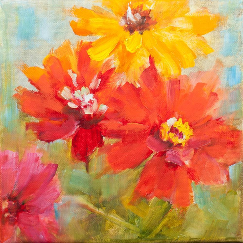 """Zinnias"" original fine art by Sue Churchgrant"