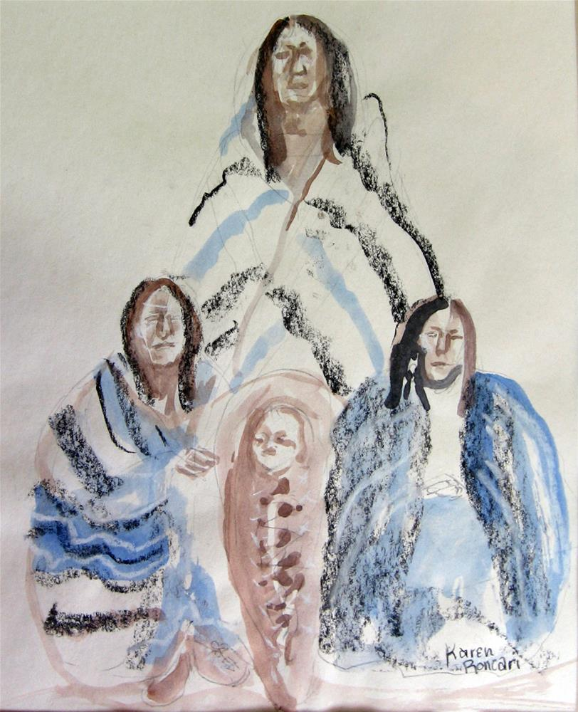 """Family Group"" original fine art by Karen Roncari"