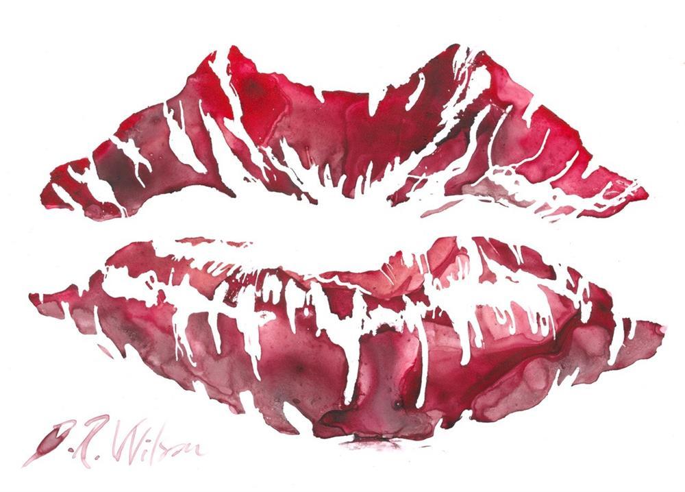 """Lipstick (Valentine Kiss)"" original fine art by D. Renee Wilson"