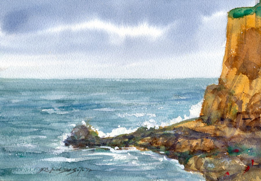 """Western Coastal Cliff"" original fine art by Rafael DeSoto Jr."
