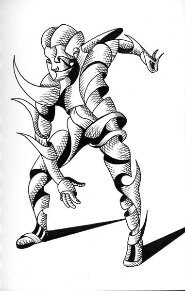 """Mark Webster - Cesar 22.03 - Abstract Geometric Futurist Figurative Ink Drawing"" original fine art by Mark Webster"