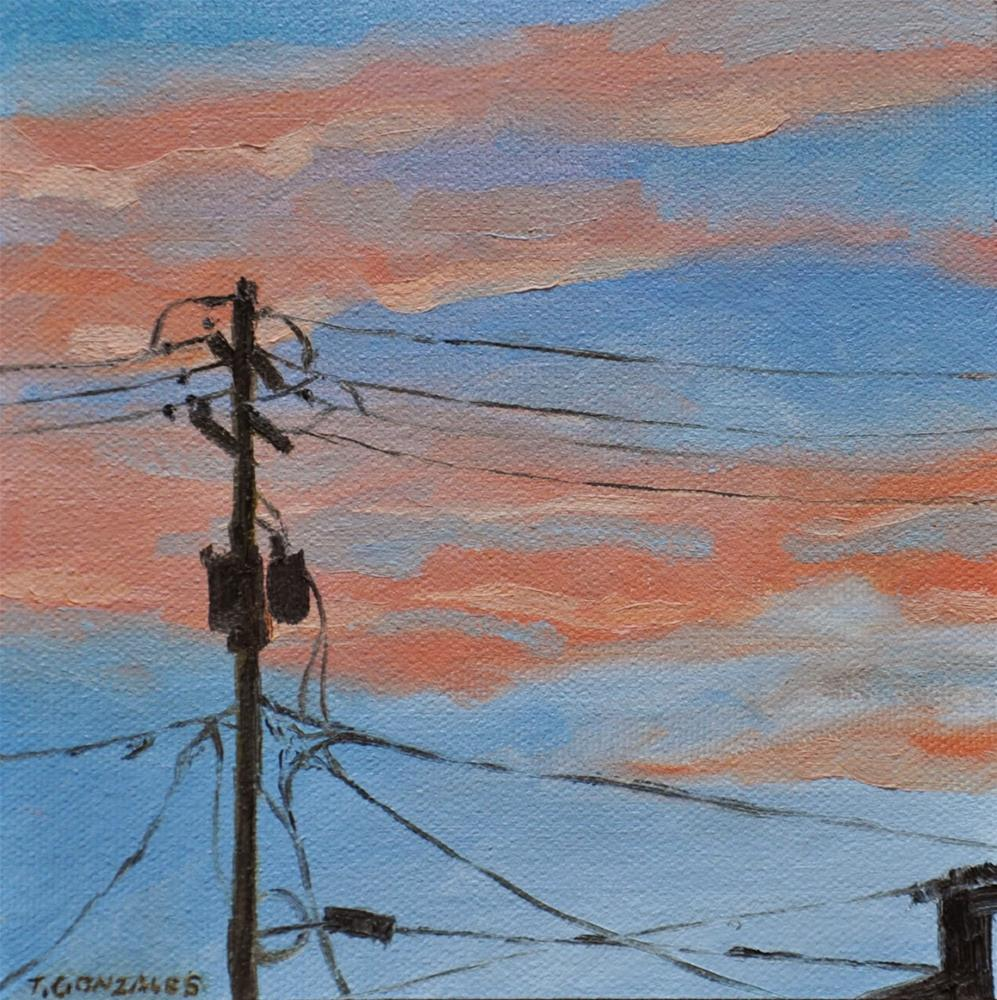 """Sunset and Lines"" original fine art by Theresa Gonzales"