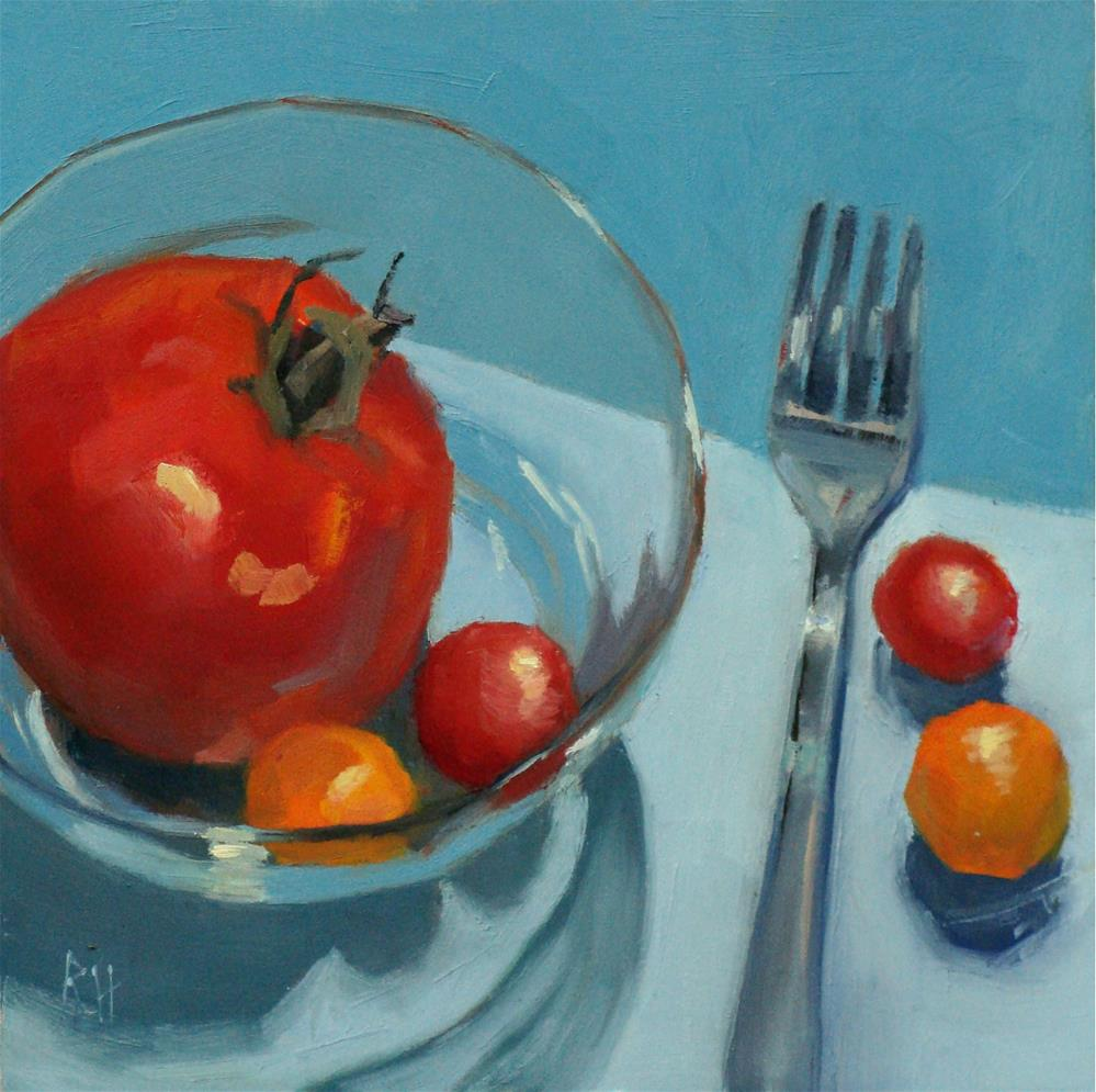 """Tomatos in Turquoise"" original fine art by Rebecca Helton"