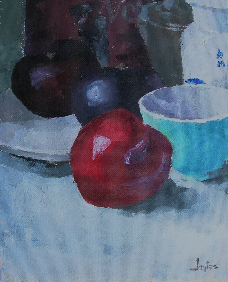"""Red Plum"" original fine art by Richard Jones"