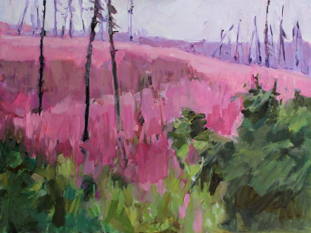 """Hillside Fireweed"" original fine art by Gretchen Hancock"