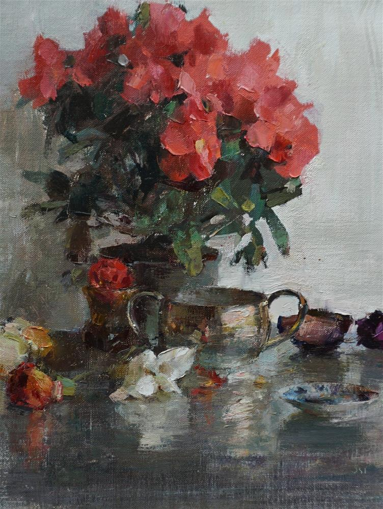"""silver and pink"" original fine art by Taisia Kuklina"