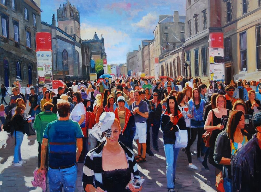 """THE FESTIVAL BEGINS (EDINBURGH FESTIVAL)"" original fine art by Adebanji Alade"
