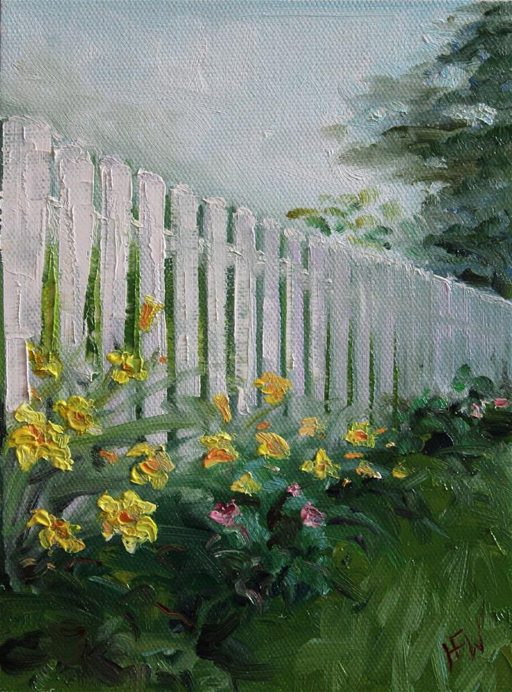 """Flowers by the Fence"" original fine art by H.F. Wallen"