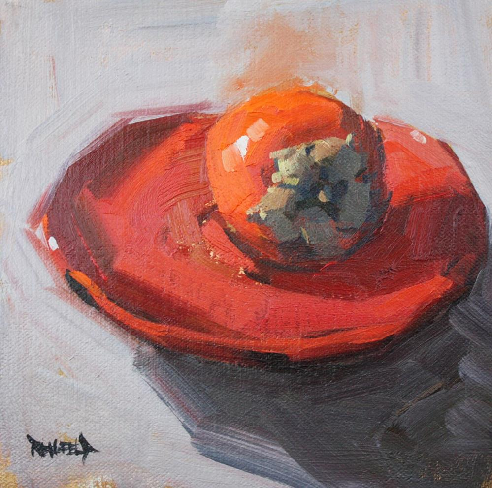"""Persimmon on a Red Plate"" original fine art by Cathleen Rehfeld"