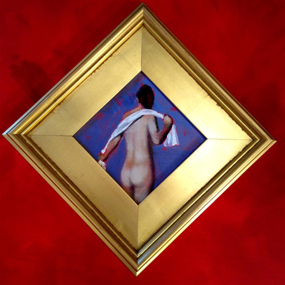 """Accent Nude 6x6 oil in gold leaf frame"" original fine art by David Larson Evans"