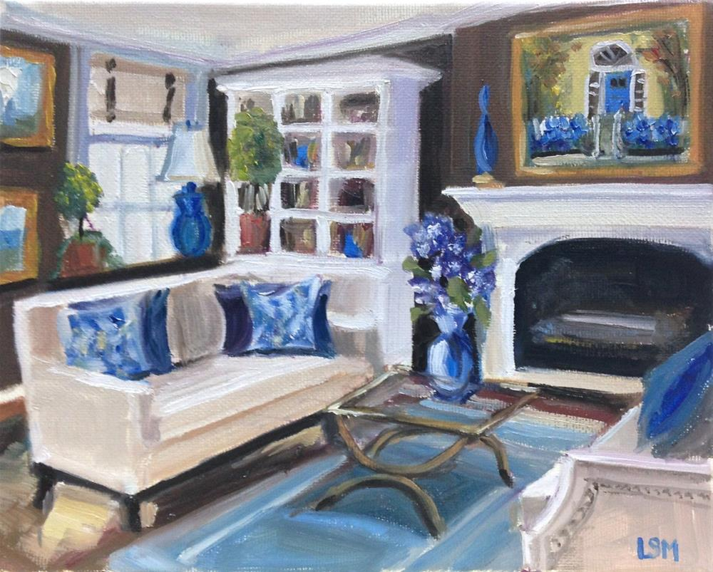 """Blue Hydrangeas Living Room"" original fine art by Linda Marino"