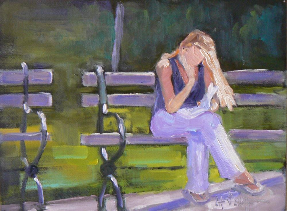 """Tribeca Park Bench, 6x8  Oil Painting"" original fine art by Carol Schiff"