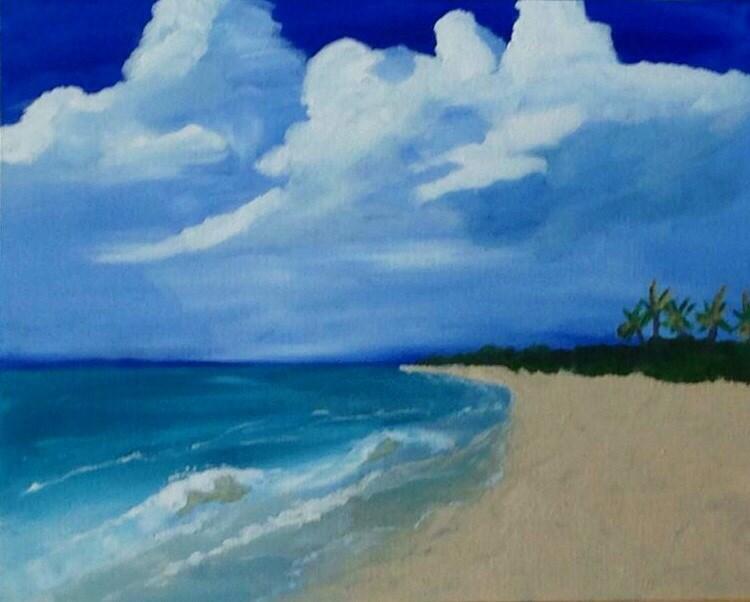 """Beach Meets Sky"" original fine art by Brenda Smith"