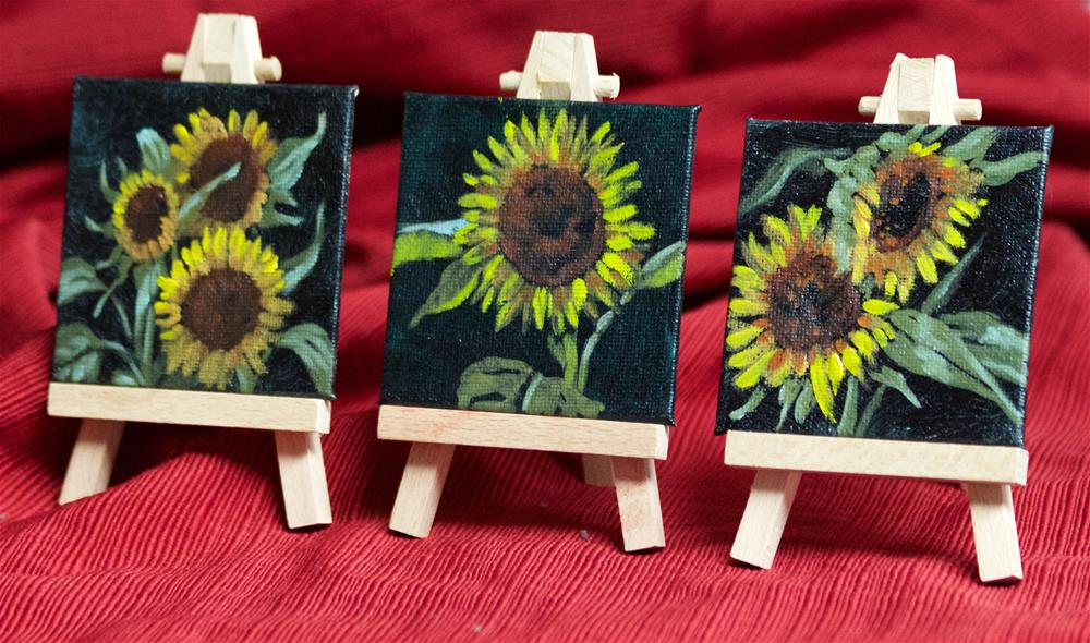 """Sunflower Trio"" original fine art by Linda Eades Blackburn"