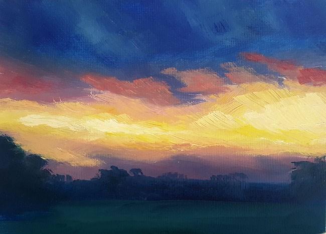 """Bright Sunset"" original fine art by J M Needham"