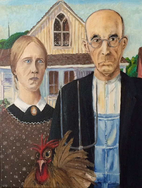 """After Grant Wood: Henriettas job interview"" original fine art by Jolynn Clemens"