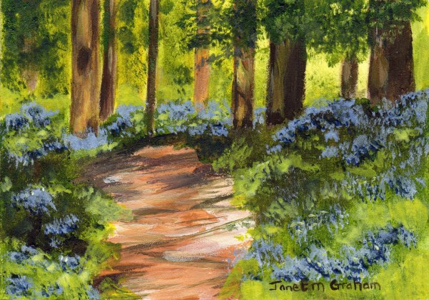 """Bluebell Forest ACEO"" original fine art by Janet Graham"