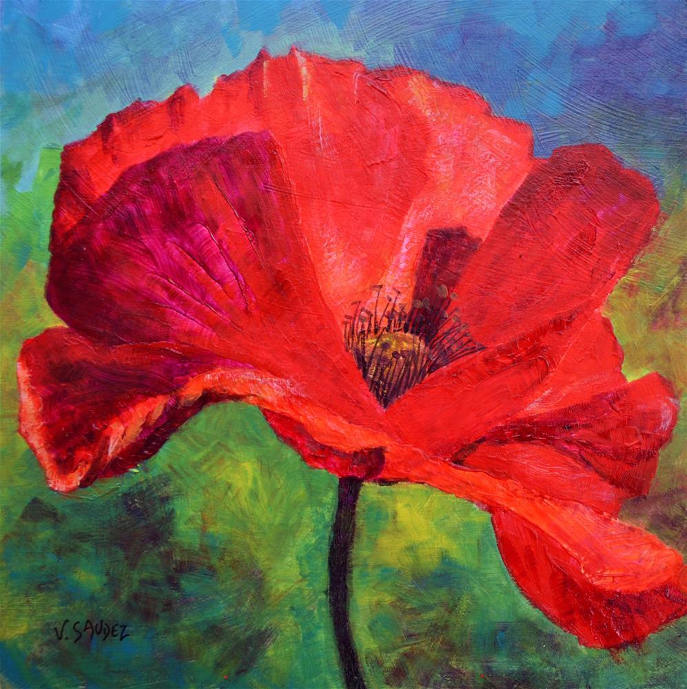 """Poppy"" original fine art by Véronique Saudez"