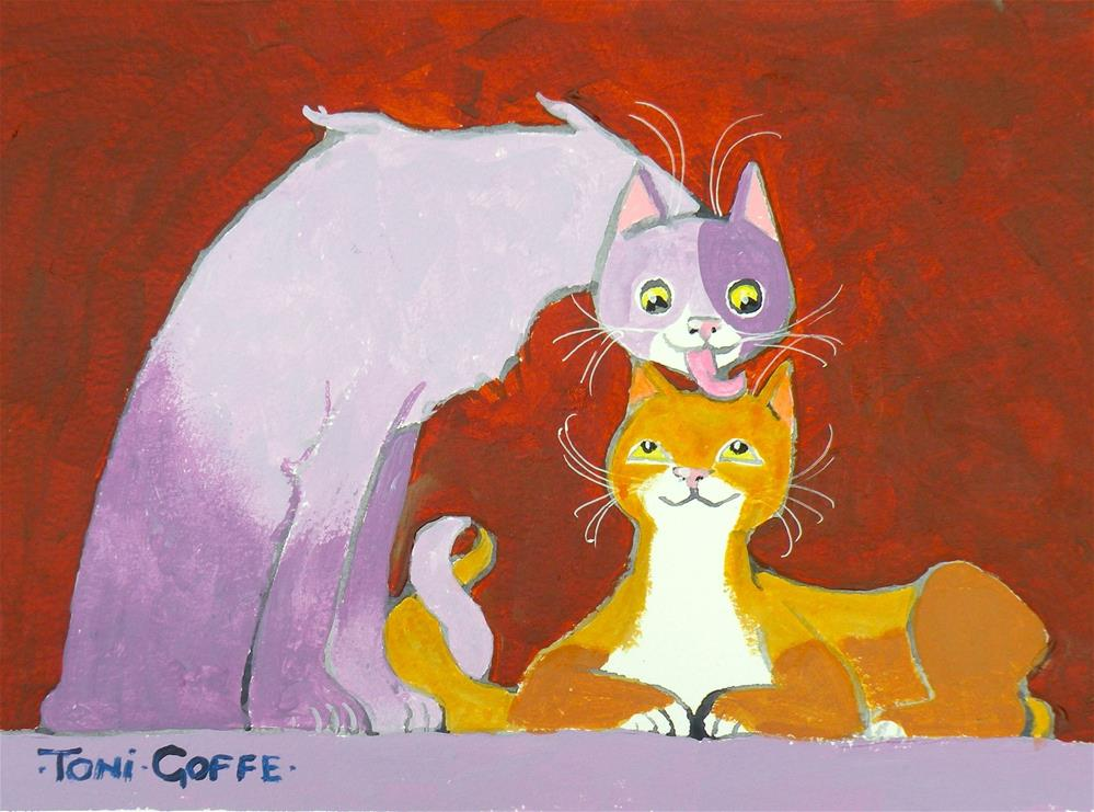 """A Lick for Luck"" original fine art by Toni Goffe"