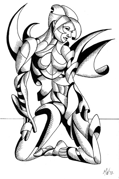 """Mark Adam Webster - Adrina - Abstract Geometric Futurist Figurative Ink Drawing"" original fine art by Mark Webster"