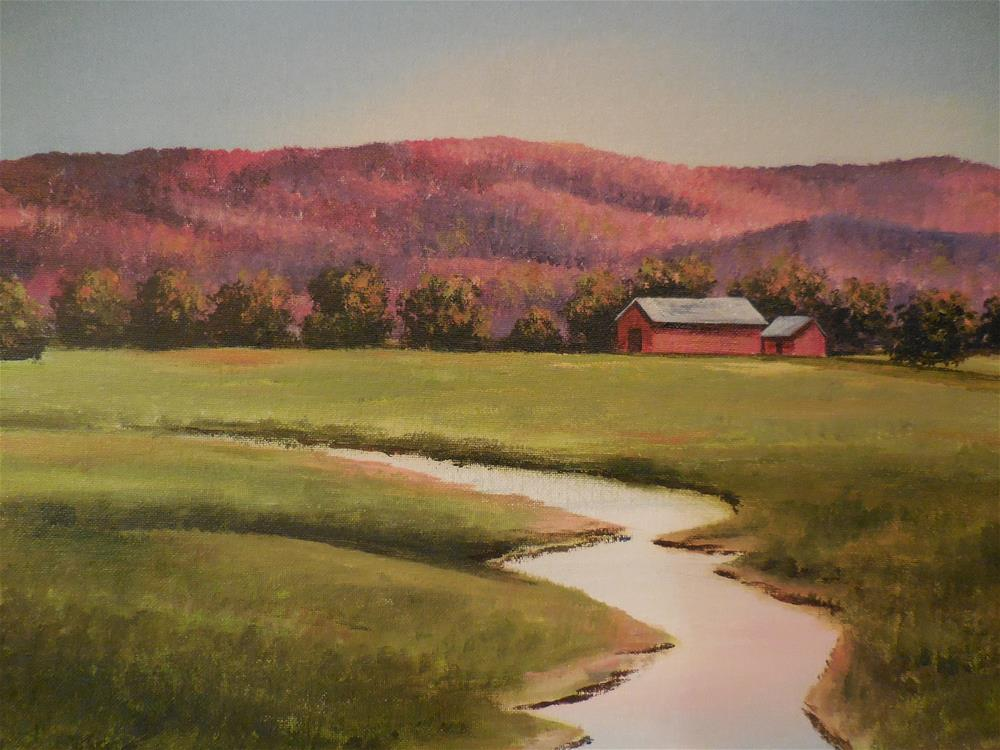 """Barn on the hill"" original fine art by Terri Nicholson"
