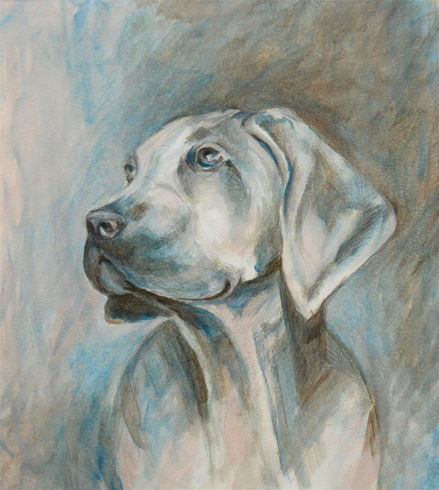 """Hunting dog"" original fine art by Olga Touboltseva-Lefort"