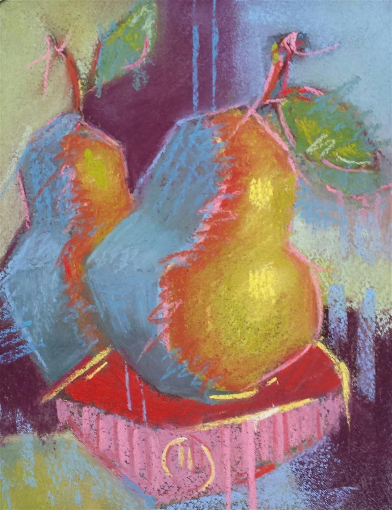 """Pears and Red Bowl"" original fine art by Cindy Haase"