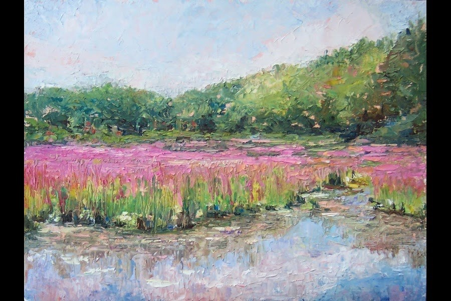 """Purple Pond,landscape,oil on canvas,9x12,price$400"" original fine art by Joy Olney"