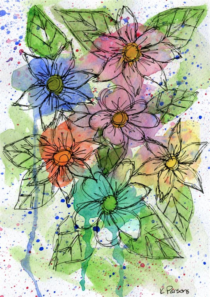 """Rainbow Bouquet"" original fine art by Kali Parsons"