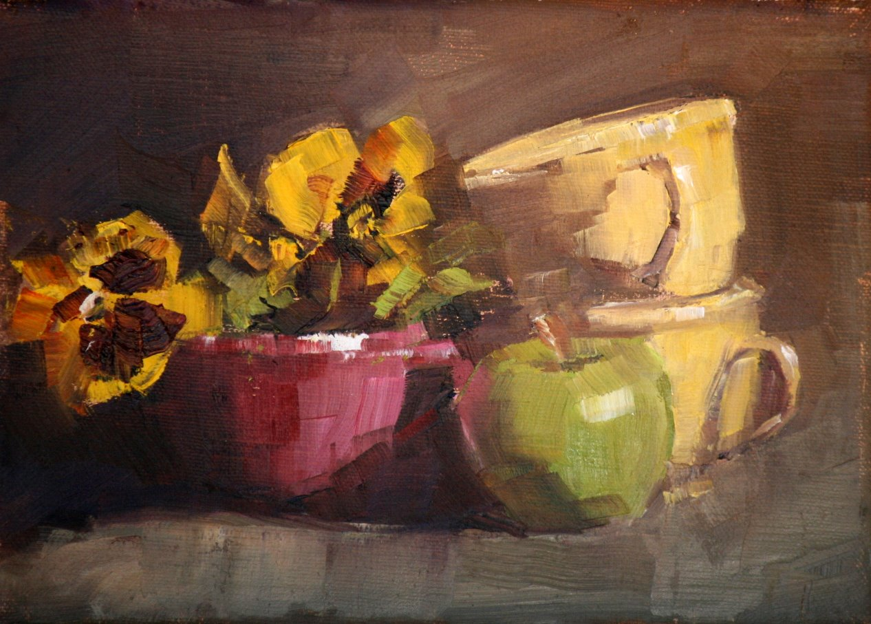 """cups and pansies"" original fine art by Carol Carmichael"