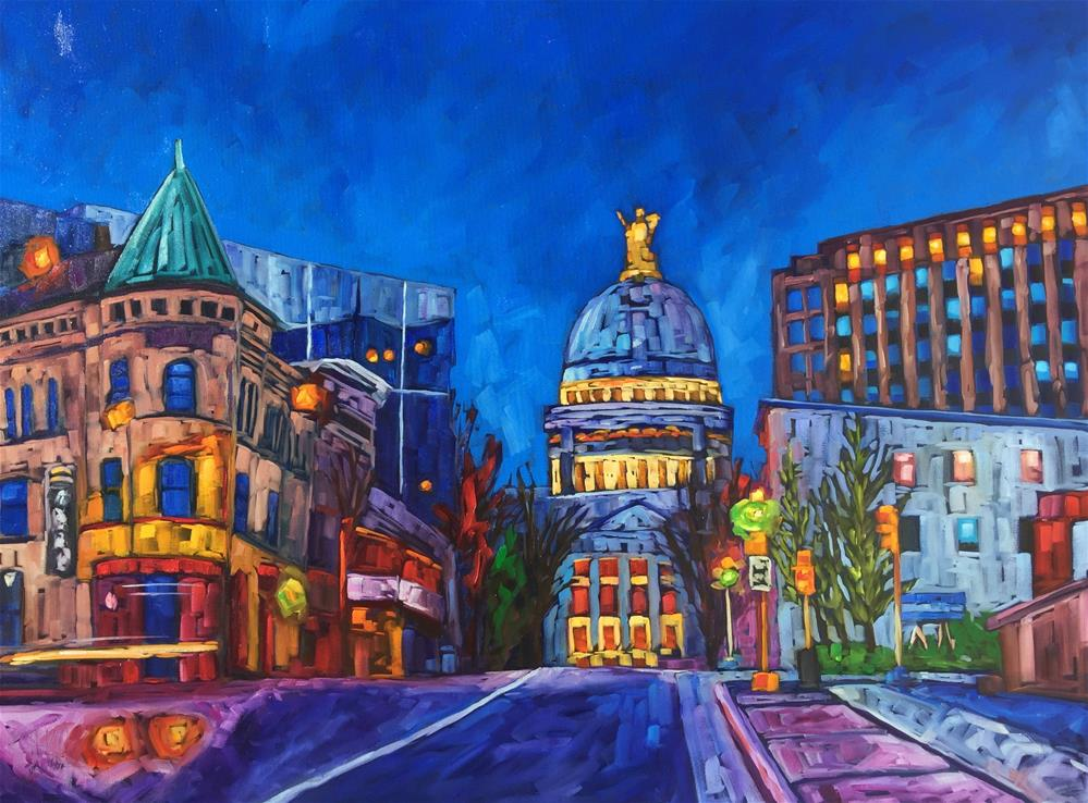 """Madison Skyline"" original fine art by Hallie Kohn"