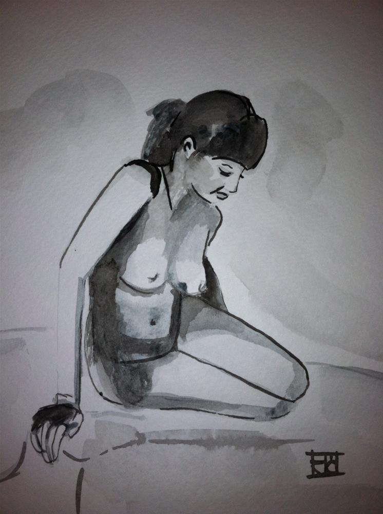 """""""Gray watercolor nude"""" original fine art by Arron McGuire"""