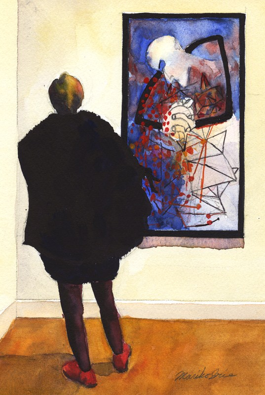 """Ben Shahn & a Woman"" original fine art by Mariko Irie"