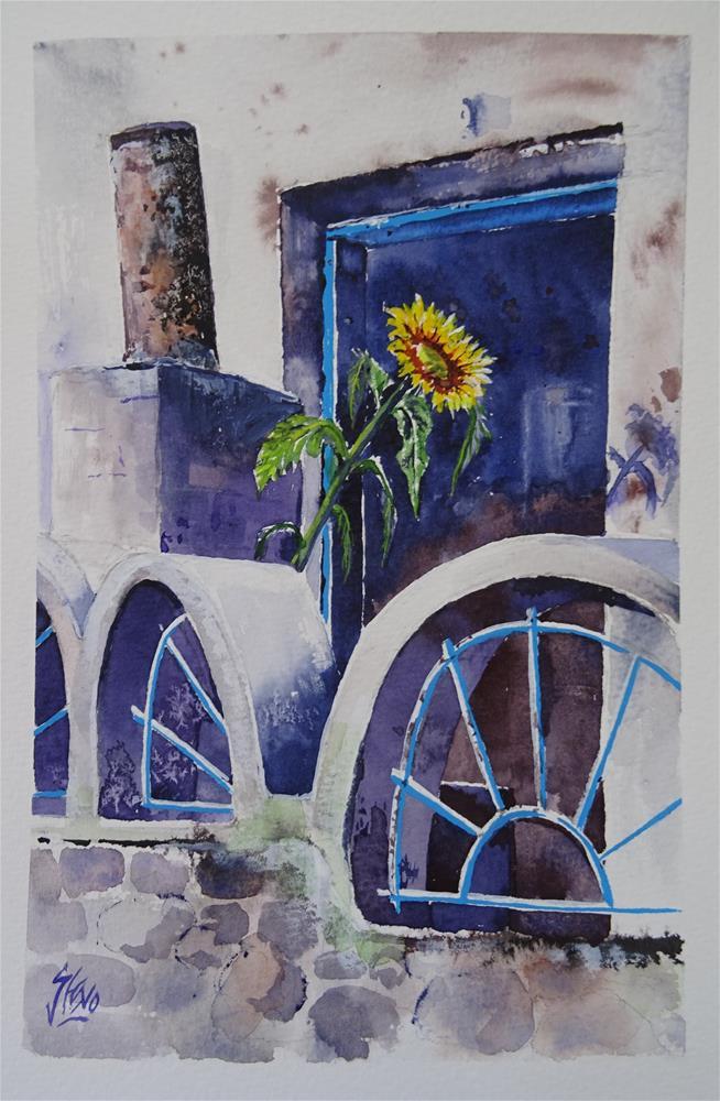 """Svetlo's Lone Sunflower needs watering"" original fine art by Martin Stephenson"