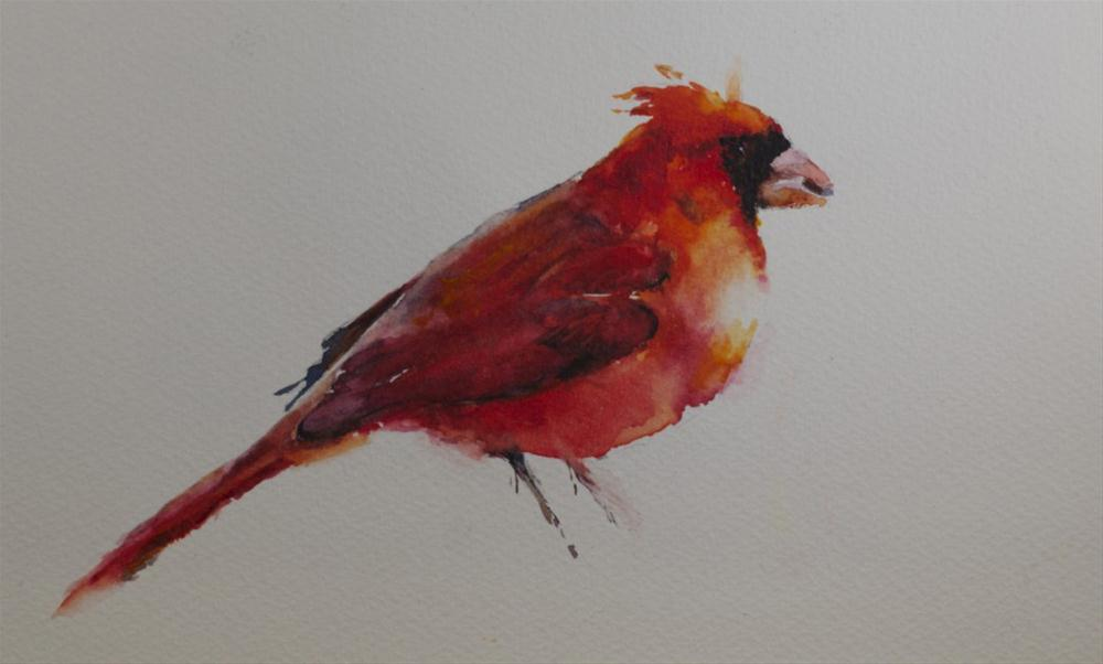 """Cardinal Watercolor"" original fine art by Sue Churchgrant"