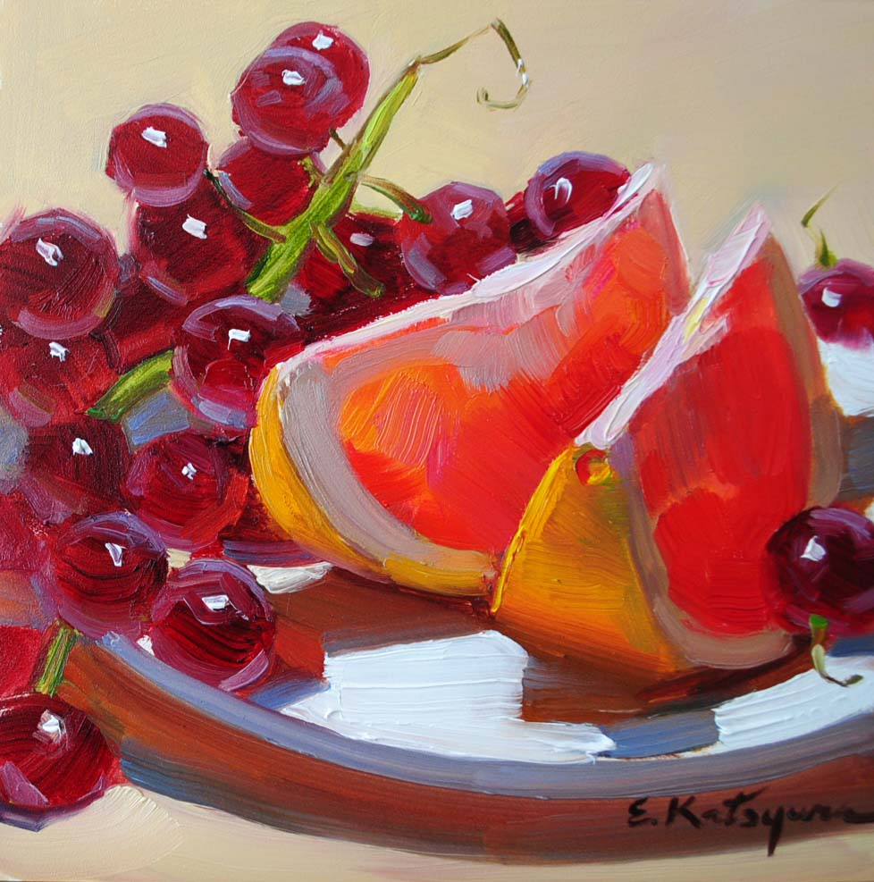 """Grapefruit & Grapes"" original fine art by Elena Katsyura"