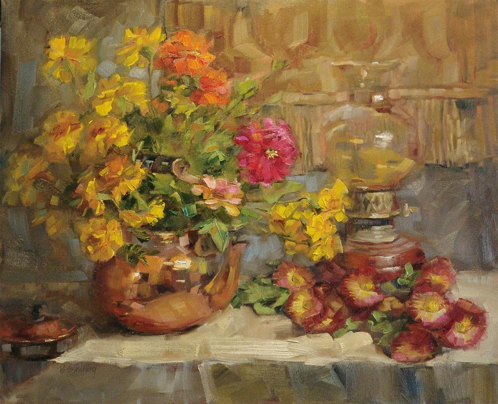 """Zinnias and Marigolds"" original fine art by Barbara Schilling"
