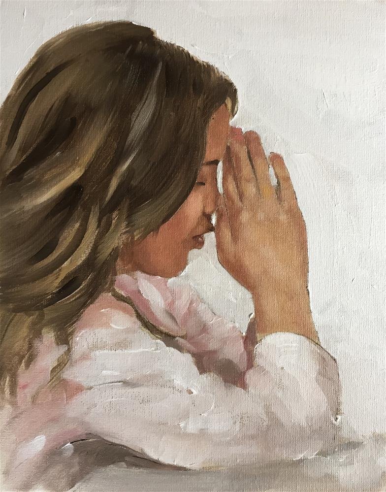 """Girl Praying"" original fine art by James Coates"