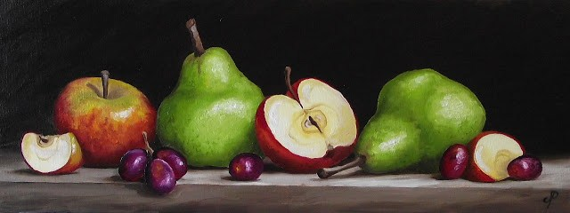 """Apples and Pears with grapes"" original fine art by Jane Palmer"